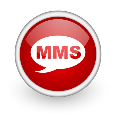 mms red circle web icon on white background Stock Photo - 17519017