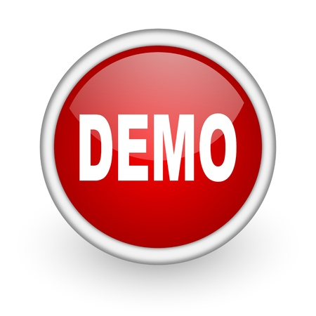 demo red circle web icon on white background  photo