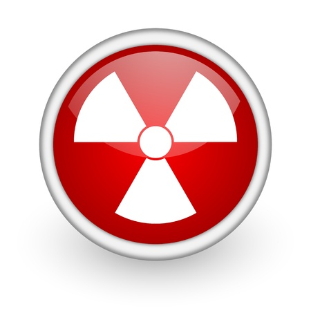 radiation red circle web icon on white background  photo