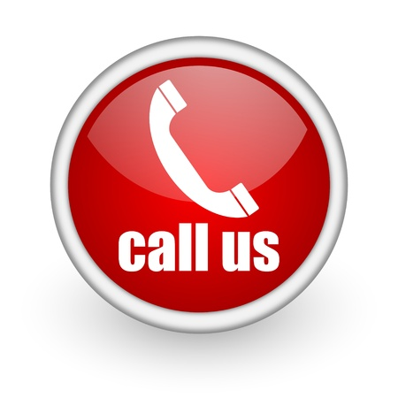 call us red circle web icon on white background  photo