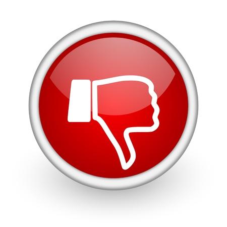pulgar abajo: el pulgar hacia abajo icono rojo web c�rculo sobre fondo blanco Foto de archivo