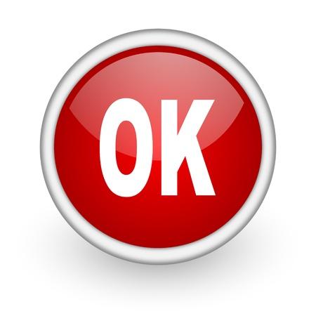 ok red circle web icon on white background Stock Photo - 17518740