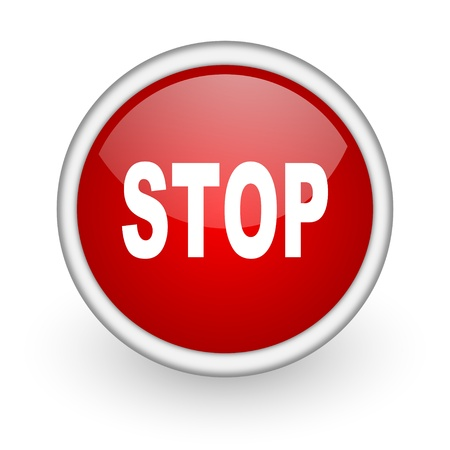 stop red circle web icon on white background Stock Photo - 17518927
