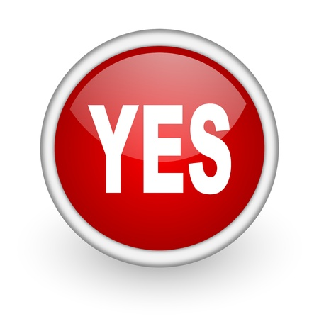 yes red circle web icon on white background Stock Photo - 17518794