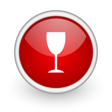 champain: glass red circle web icon on white background