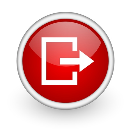 exit red circle web icon on white background  photo