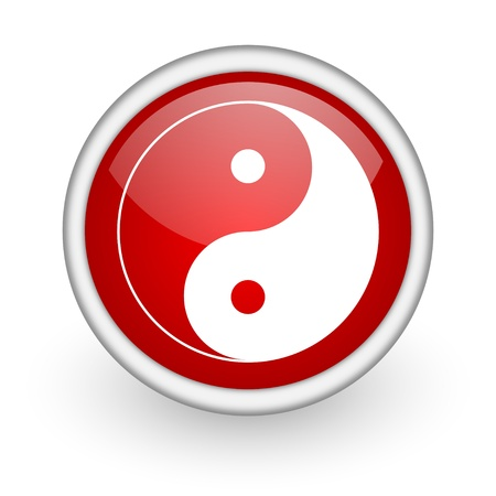 ying yang red circle web icon on white background