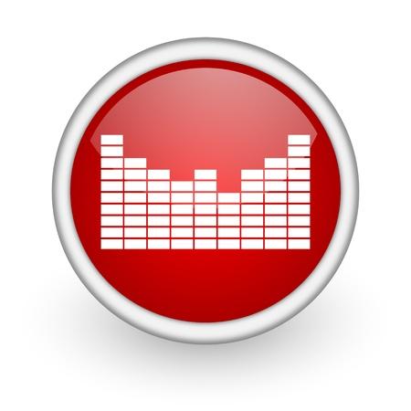 sound red circle web icon on white background  photo