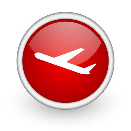 airplane red circle web icon on white background