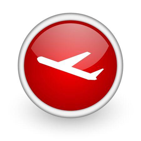 airplane red circle web icon on white background Stock Photo - 17518585