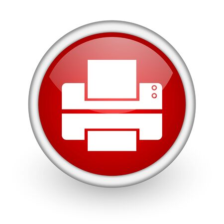 printer red circle web icon on white background  photo