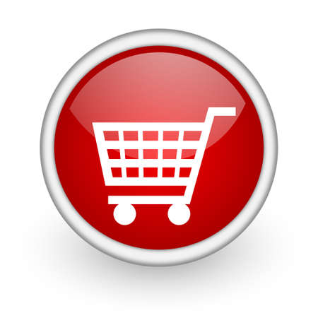 shopping cart red circle web icon on white background