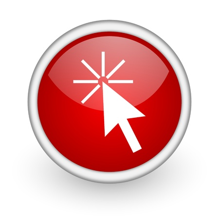 click here red circle web icon on white background Stock Photo - 17518933