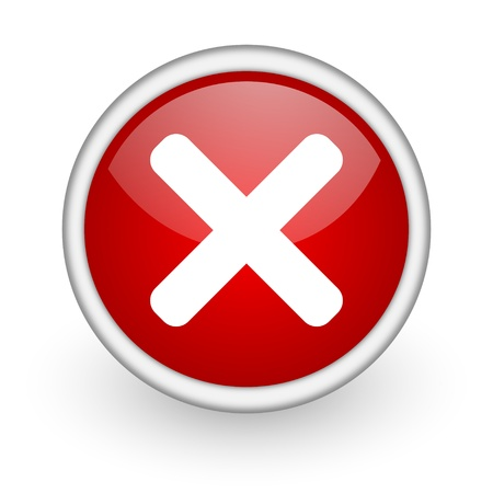 cancel red circle web icon on white background