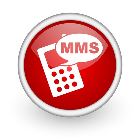 mms red circle web icon on white background Stock Photo - 17519139