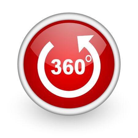 360 degrees panorama red circle web icon on white background  photo