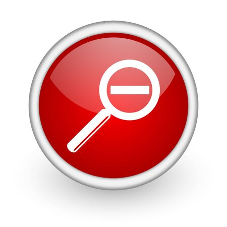 magnification: magnification red circle web icon on white background  Stock Photo