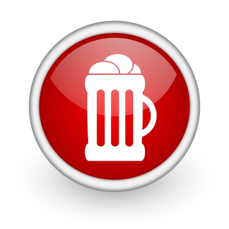 beer red circle web icon on white background  photo