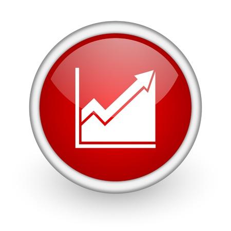histogram: histogram red circle web icon on white background