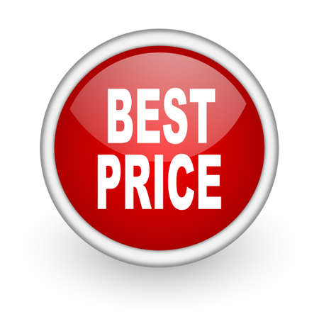 best price red circle web icon on white background Stock Photo - 17519084