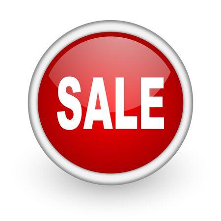 sale red circle web icon on white background Stock Photo - 17518801