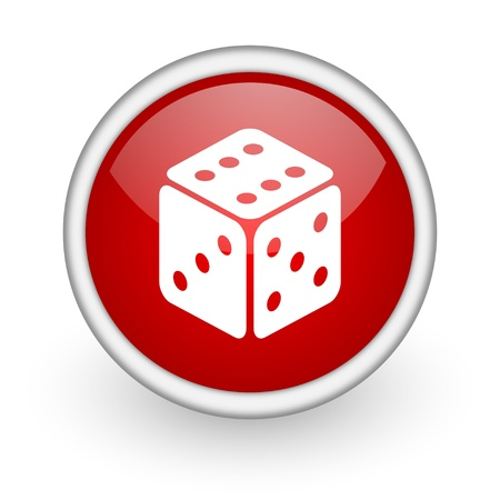 dice red circle web icon on white background  photo