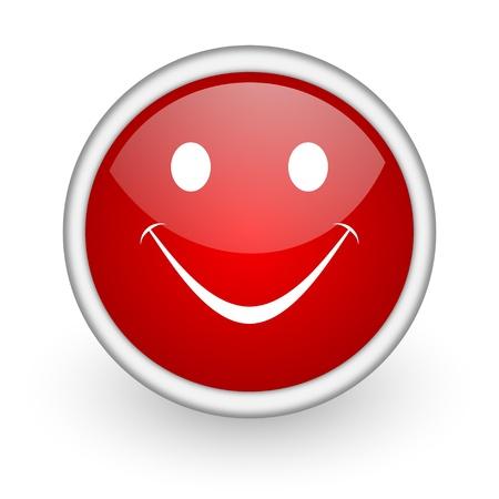 smile red circle web icon on white background Stock Photo - 17518993