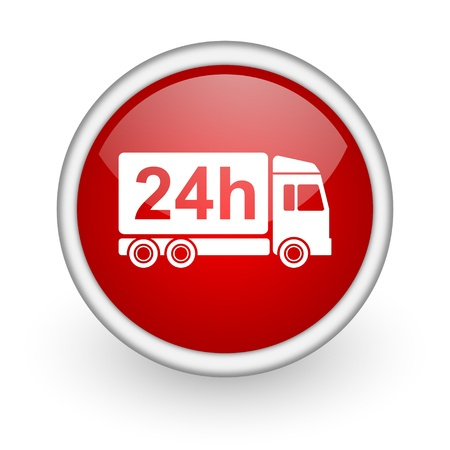 delivery 24h red circle web icon on white background  photo