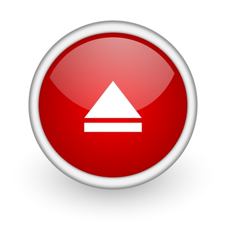 eject: eject red circle web icon on white background