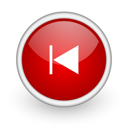prev red circle web icon on white background Stock Photo - 17518536