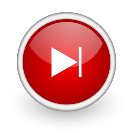 next red circle web icon on white background Stock Photo - 17518558