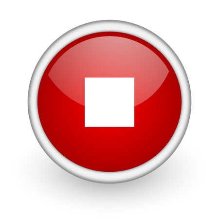 stop red circle web icon on white background Stock Photo - 17518182