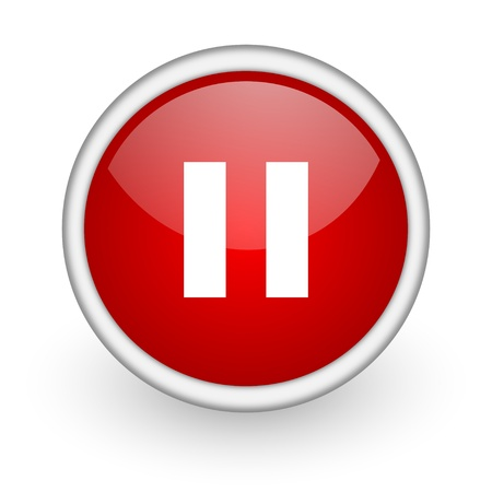 pause red circle web icon on white background  photo