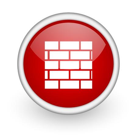 firewall red circle web icon on white background Stock Photo - 17518660