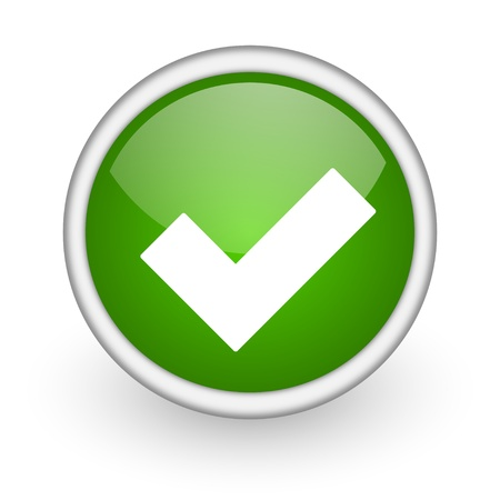 accept: accept green circle glossy web icon on white background