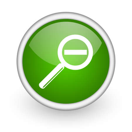 magnification: magnification green circle glossy web icon on white background