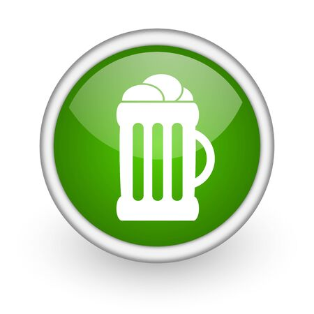 beer green circle glossy web icon on white background Stock Photo - 17647878