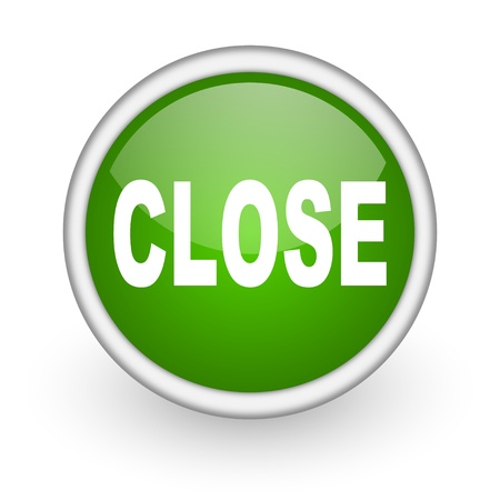 close green circle glossy web icon on white background Stock Photo - 17647938