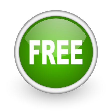 included: free green circle glossy web icon on white background