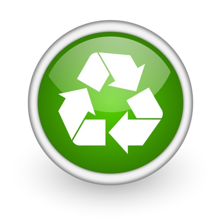 recycle green circle glossy web icon on white background  photo
