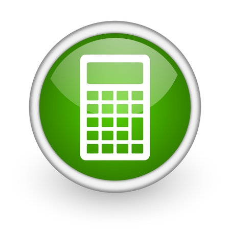 calculator green circle glossy web icon on white background Stock Photo - 17647951