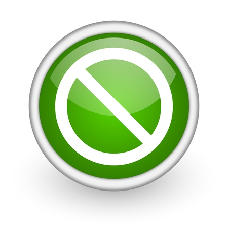 access denied green circle glossy web icon on white background