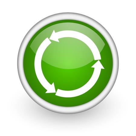 refresh green circle glossy web icon on white background Stock Photo - 17647971