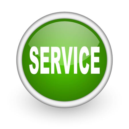 service green circle glossy web icon on white background  photo