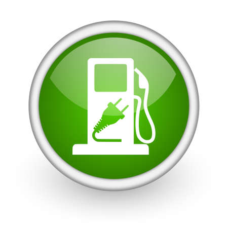 fuel green circle glossy web icon on white background  photo