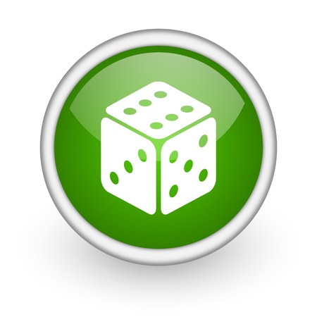 dice green circle glossy web icon on white background  photo