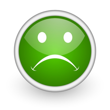 cry green circle glossy web icon on white background Stock Photo - 17647908