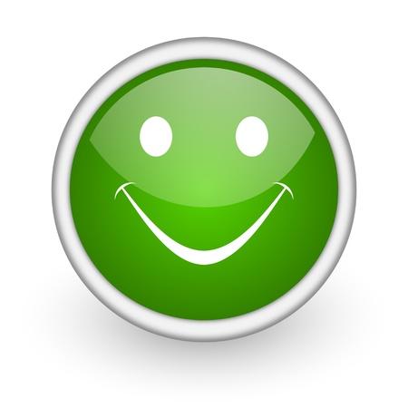 smile green circle glossy web icon on white background Stock Photo - 17647944