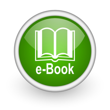 e-book green circle glossy web icon on white background