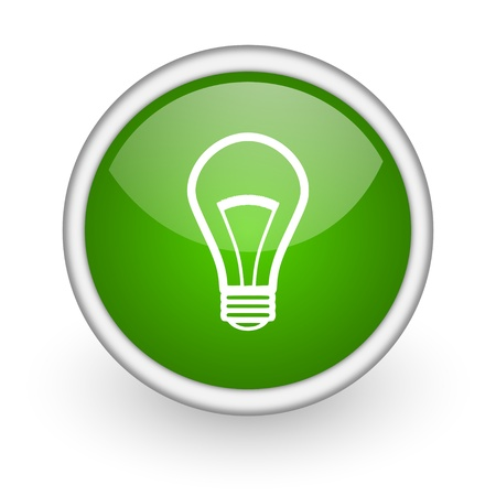 light bulb green circle glossy web icon on white background  photo